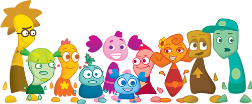 Colorful monster characters from Whirl Classroom curriculum